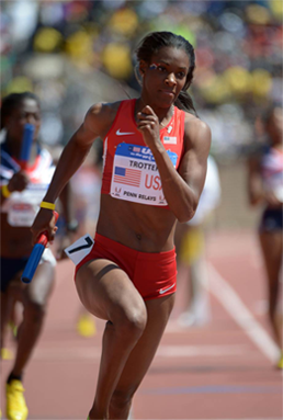 DeeDee Trotter in action on the track