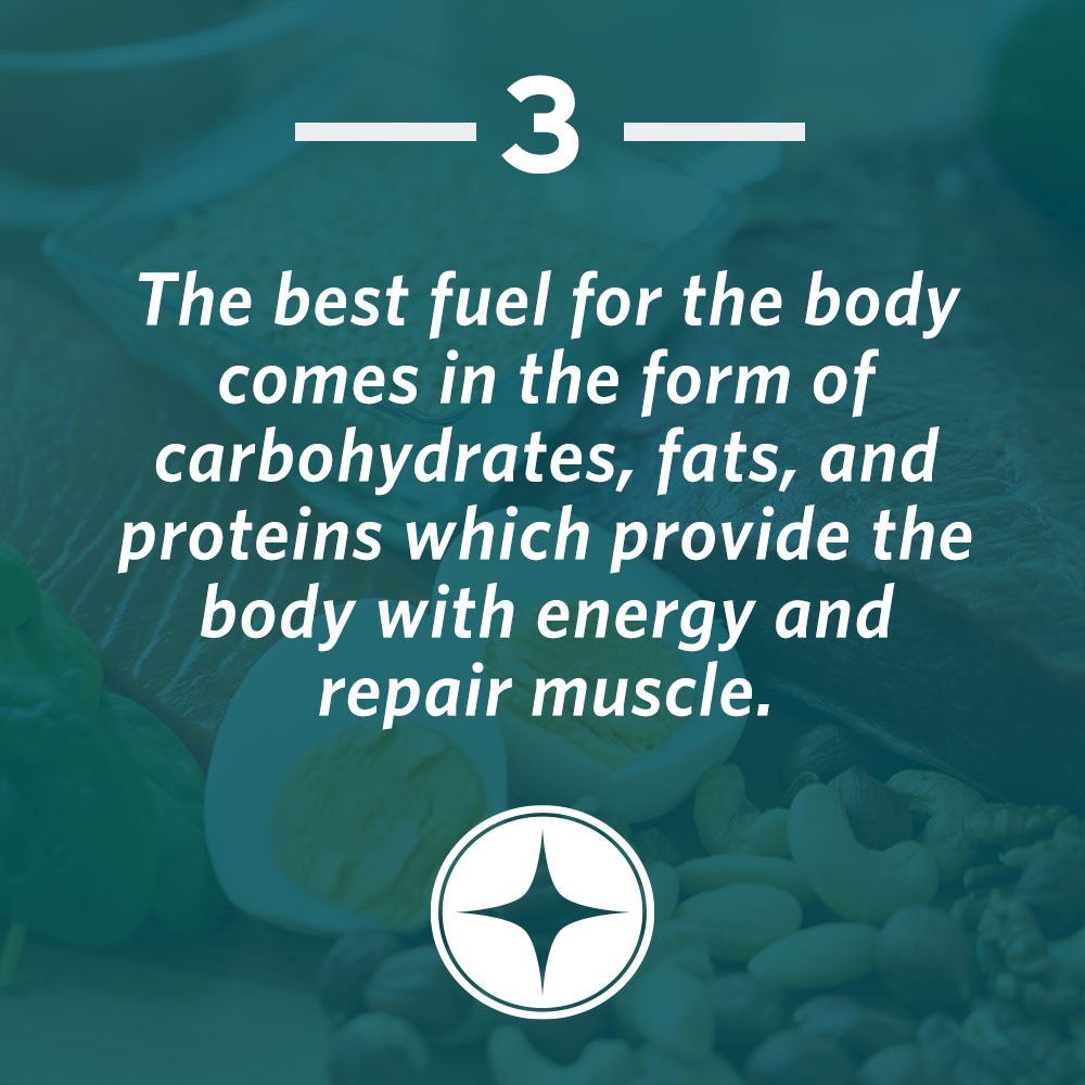 The best fuel for the body comes in the form of carbohydrates, fats, and proteins which provide the body with energy and repair muscle.