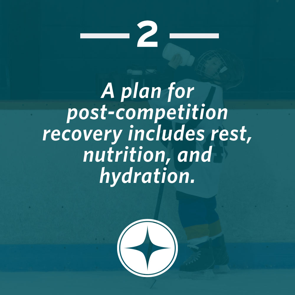 A plan for post-competition recovery includes rest, nutrition, and hydration.