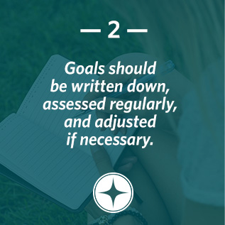 Goals should be written down, assessed regularly, and adjusted if necessary.
