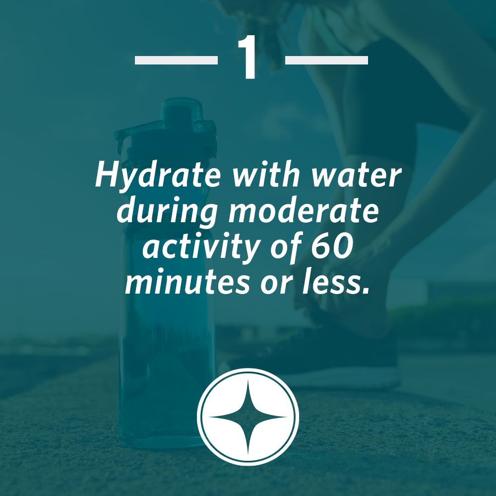 Hydrate with water during moderate activity of 60 minutes or less.